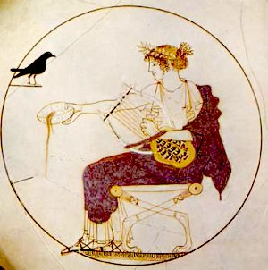 Apollon à la lyre - Médaillon d'un kylix attique à fond blanc d'attribution incertaine (Peintre de Pistoxénos, Peintre de Berlin ou Onésimos ?), v. 460 av. J.-C. - Provenance : une tombe à Delphes, vraisemblablement celle d'un prêtre. Musée archéologique de Delphes